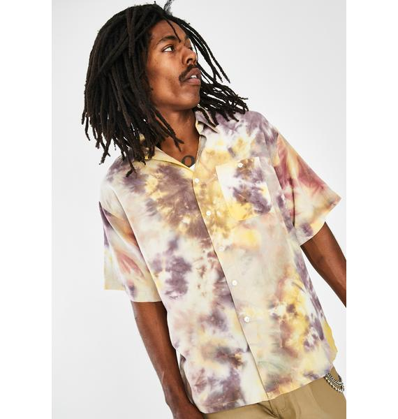 Used Future Yellow Tie Dye Button Up Shirt
