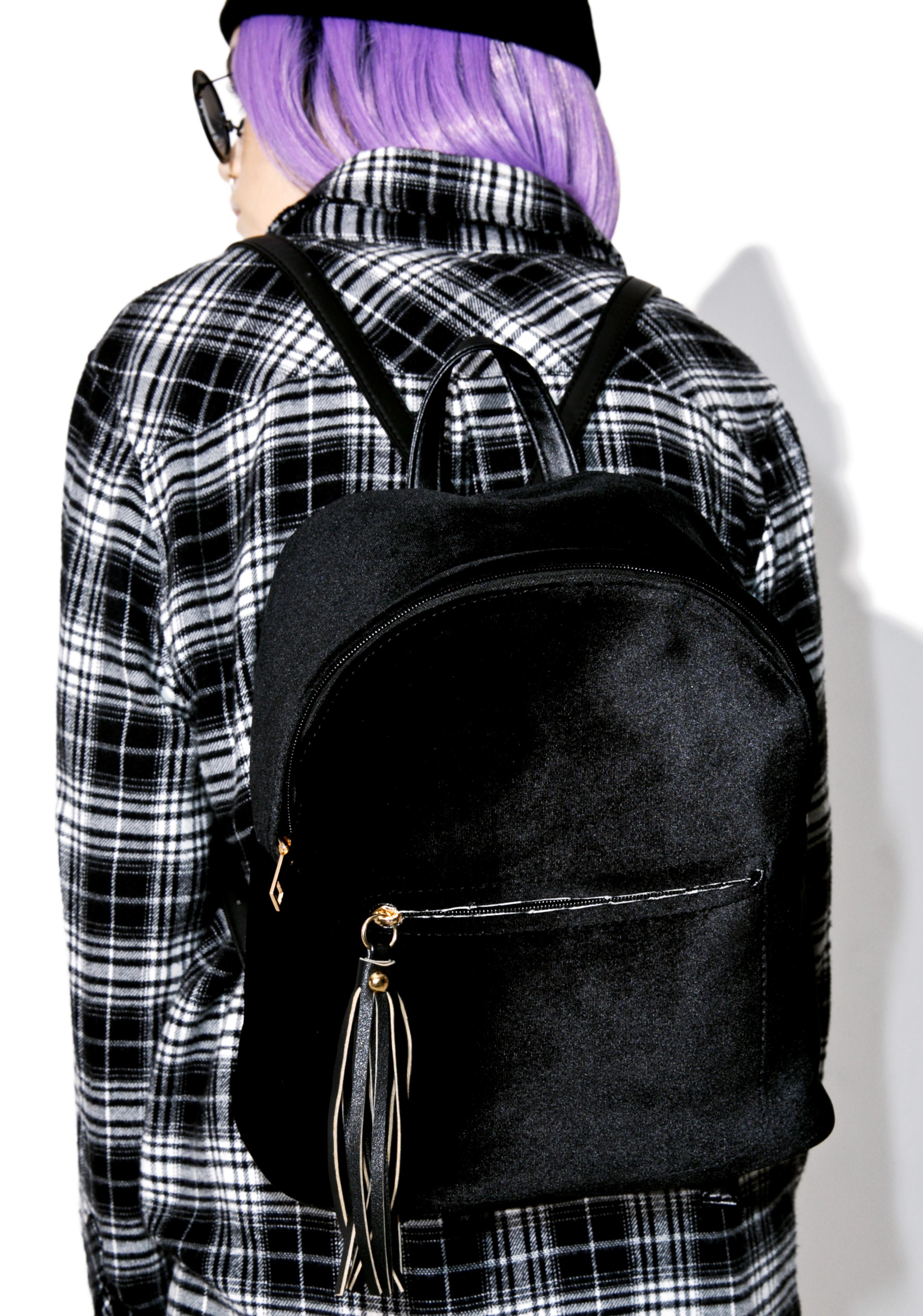 Black Satin Trendy Backpack