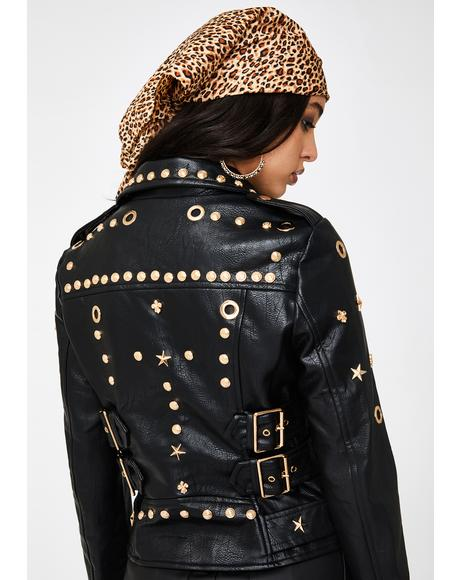 Astro Leo Studded Faux Leather Jacket