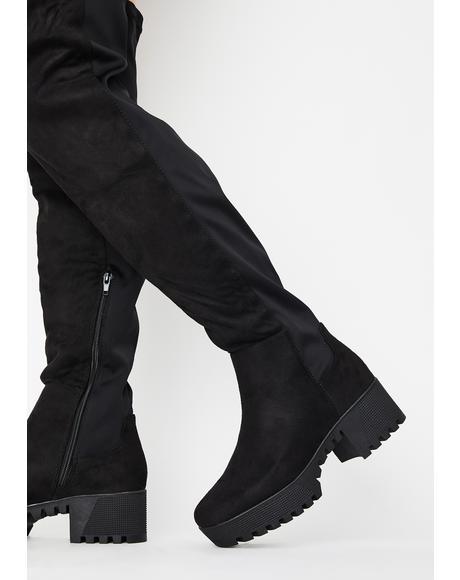 Midnight Viral Vixen Knee High Boots
