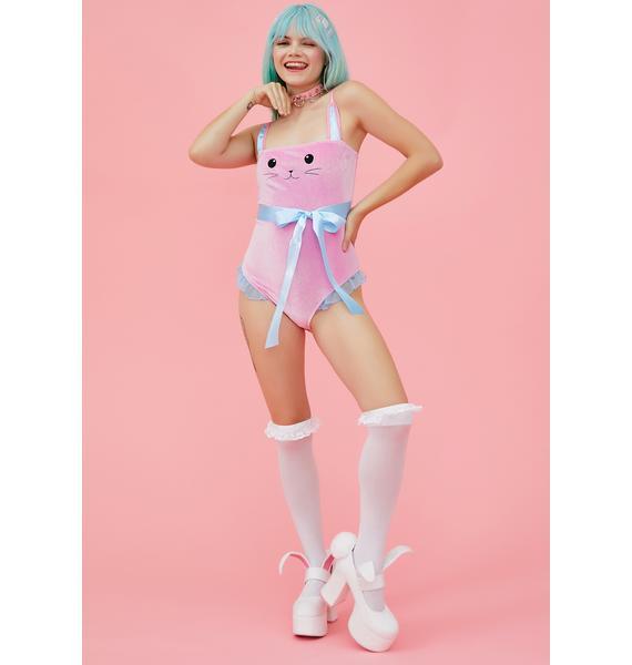 Sugar Thrillz Bunny Blues Velvet Bodysuit