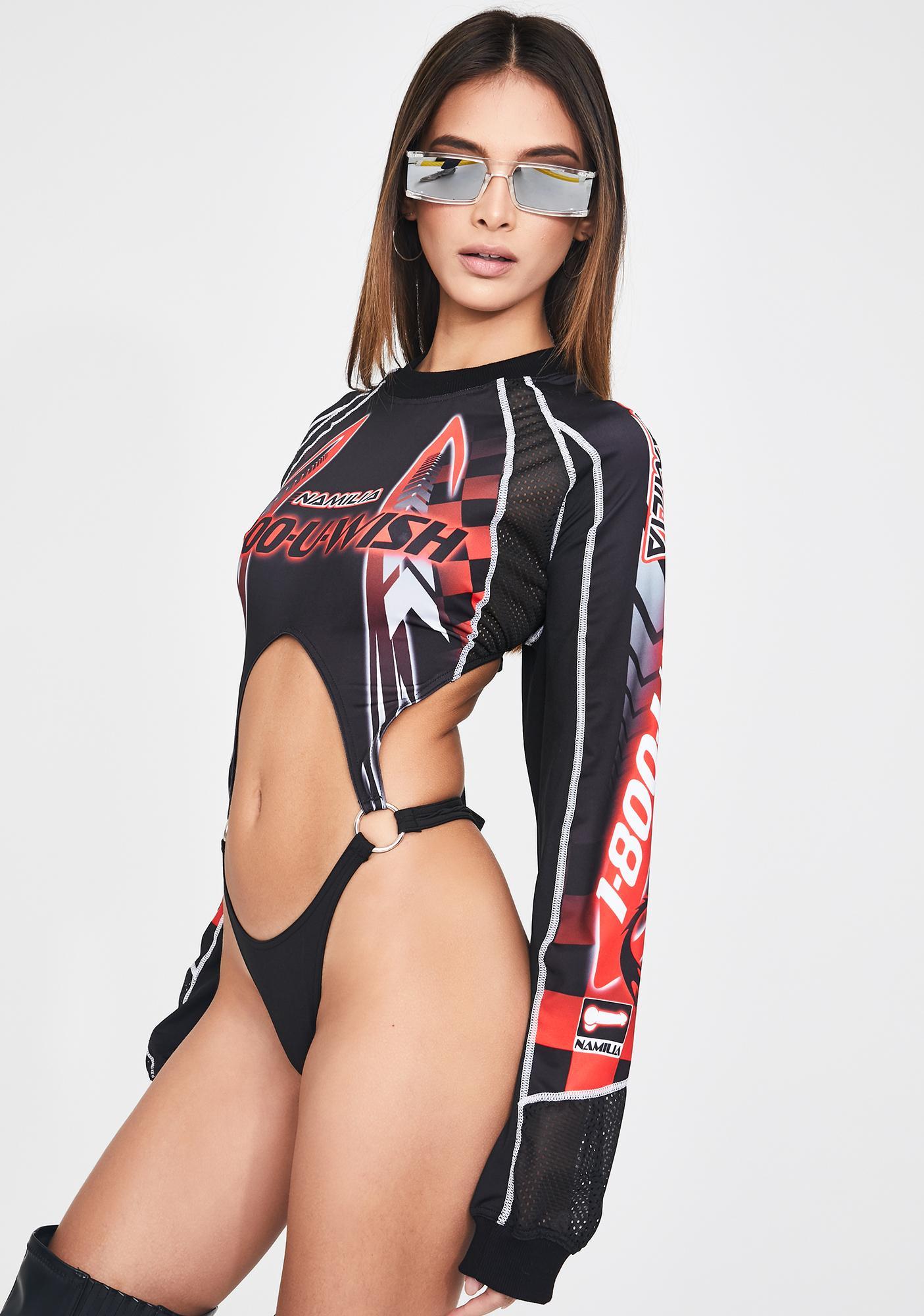 Namilia 1-800-U-Wish Red Racing Bodysuit