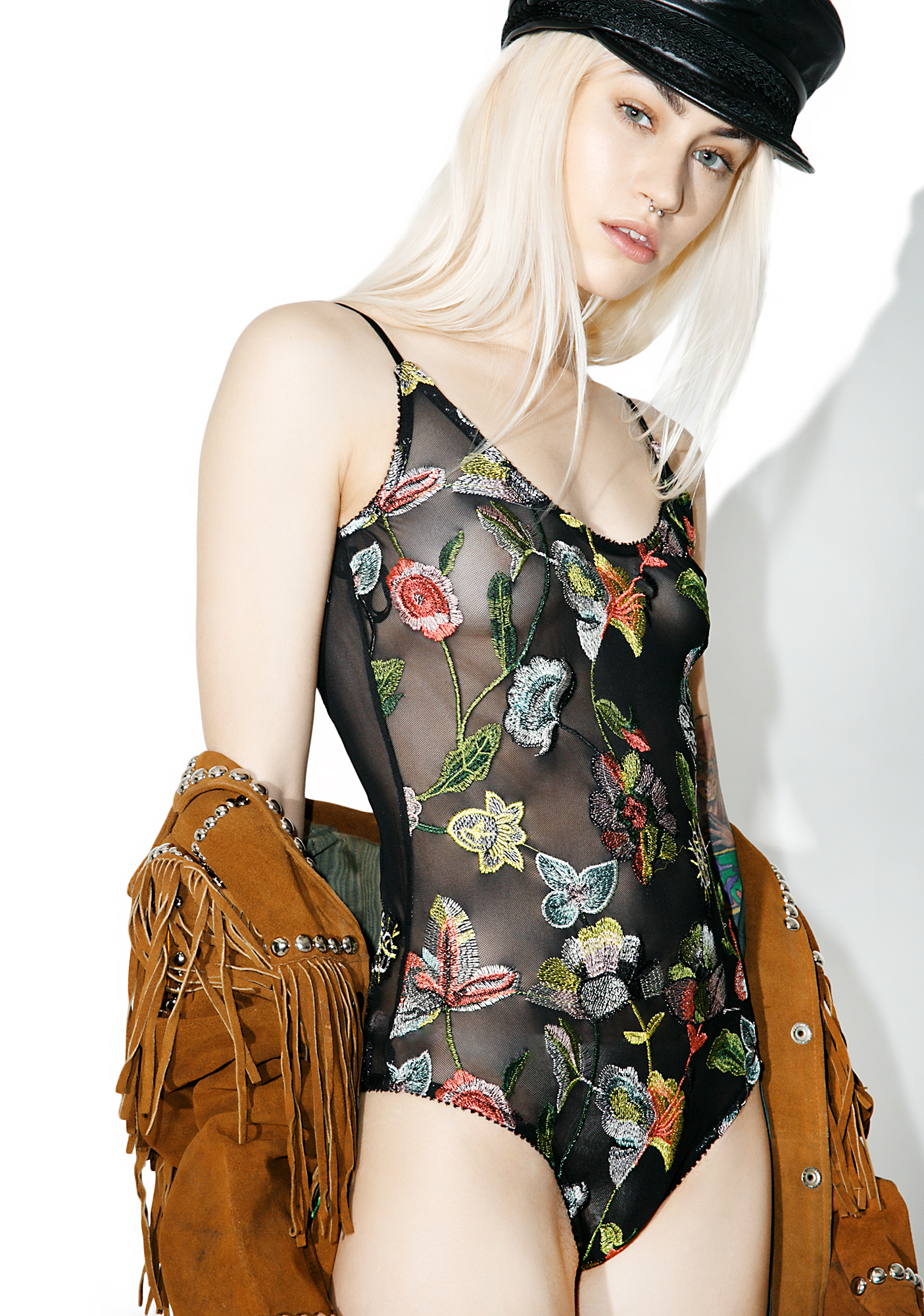 Boho Floral Embroidered Mesh Bodysuit