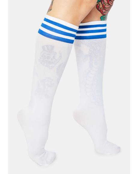 Blue Sporty Sass Stripe Knee High Socks