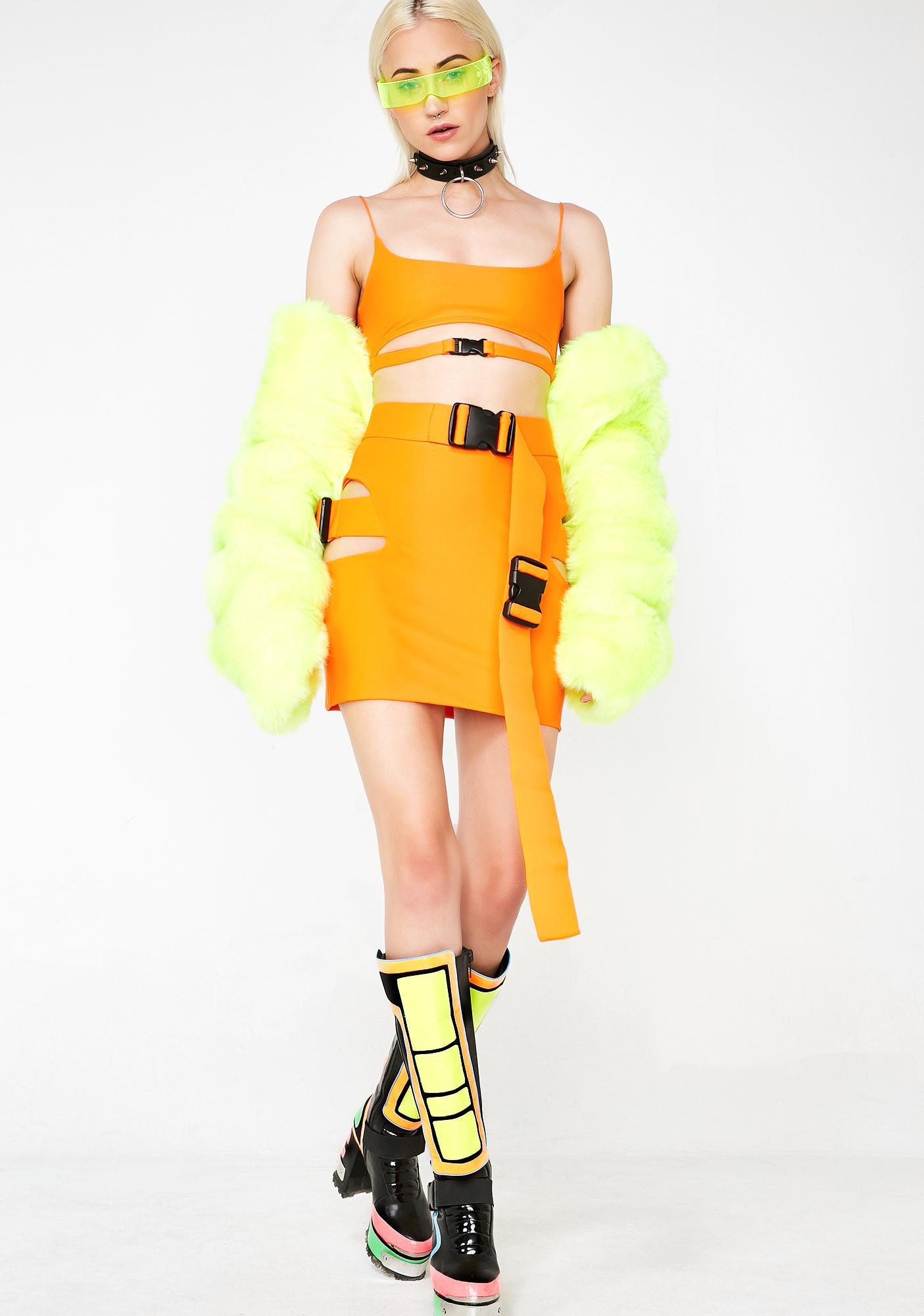 Lipt The Label Agent Orange Buckle Skirt