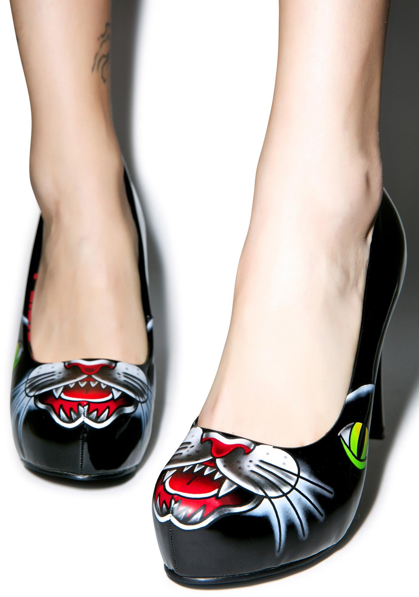 Iron Fist Black Cat Platform Heels