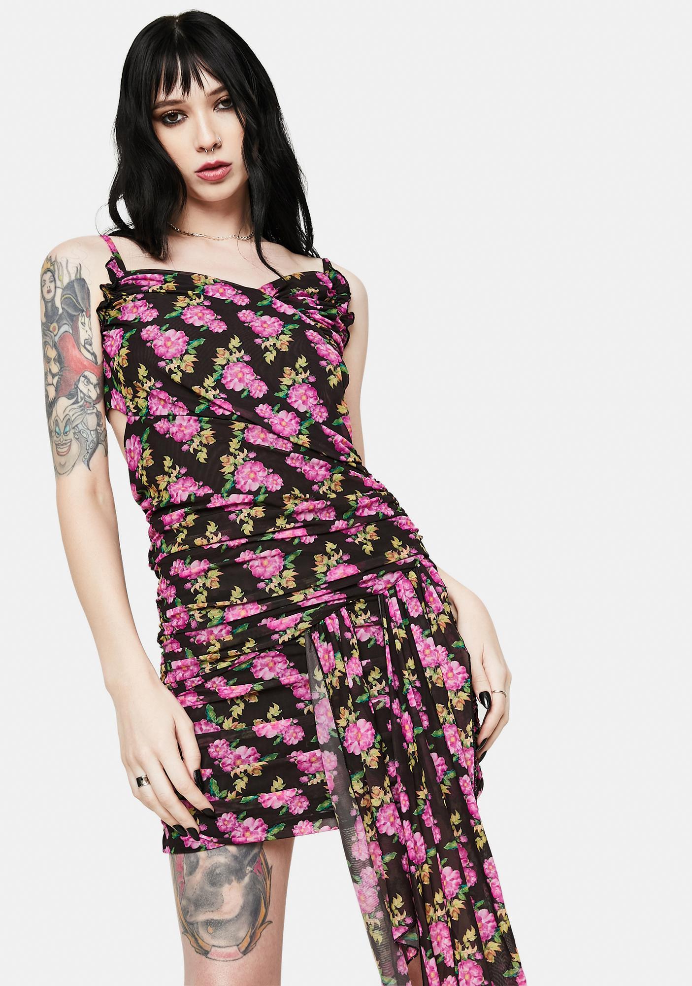 Kiki Riki Floral Wrap Tie Mini Dress