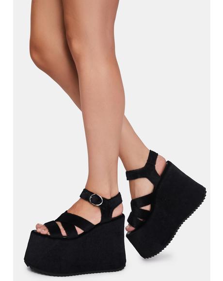 She Walks On Me Fuzzy Platform Sandals