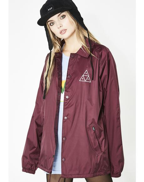Maroon Triple Triangle Coaches Jacket