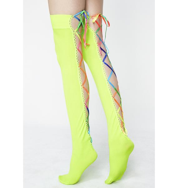 Rainbow Byte Lace-Up Thigh Highs