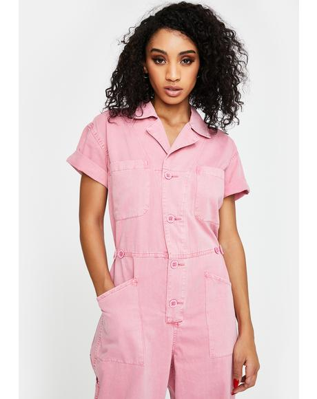 Pink Grover Denim Jumpsuit