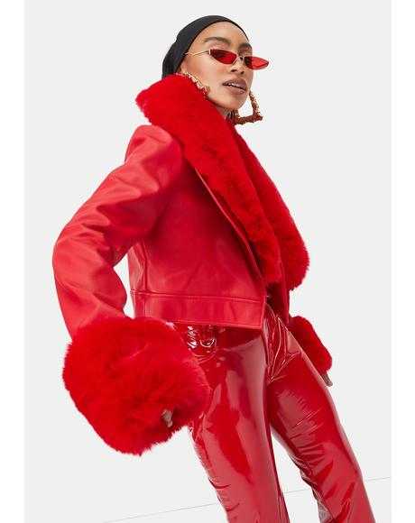 Red Giselle Faux Fur Coat