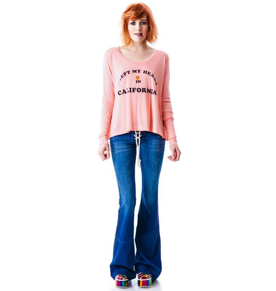 Wildfox Couture My Heart In California Lazy Weekend Long Sleeve Tee