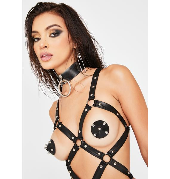 Neva Nude Black Leather Silver Spike Pasties