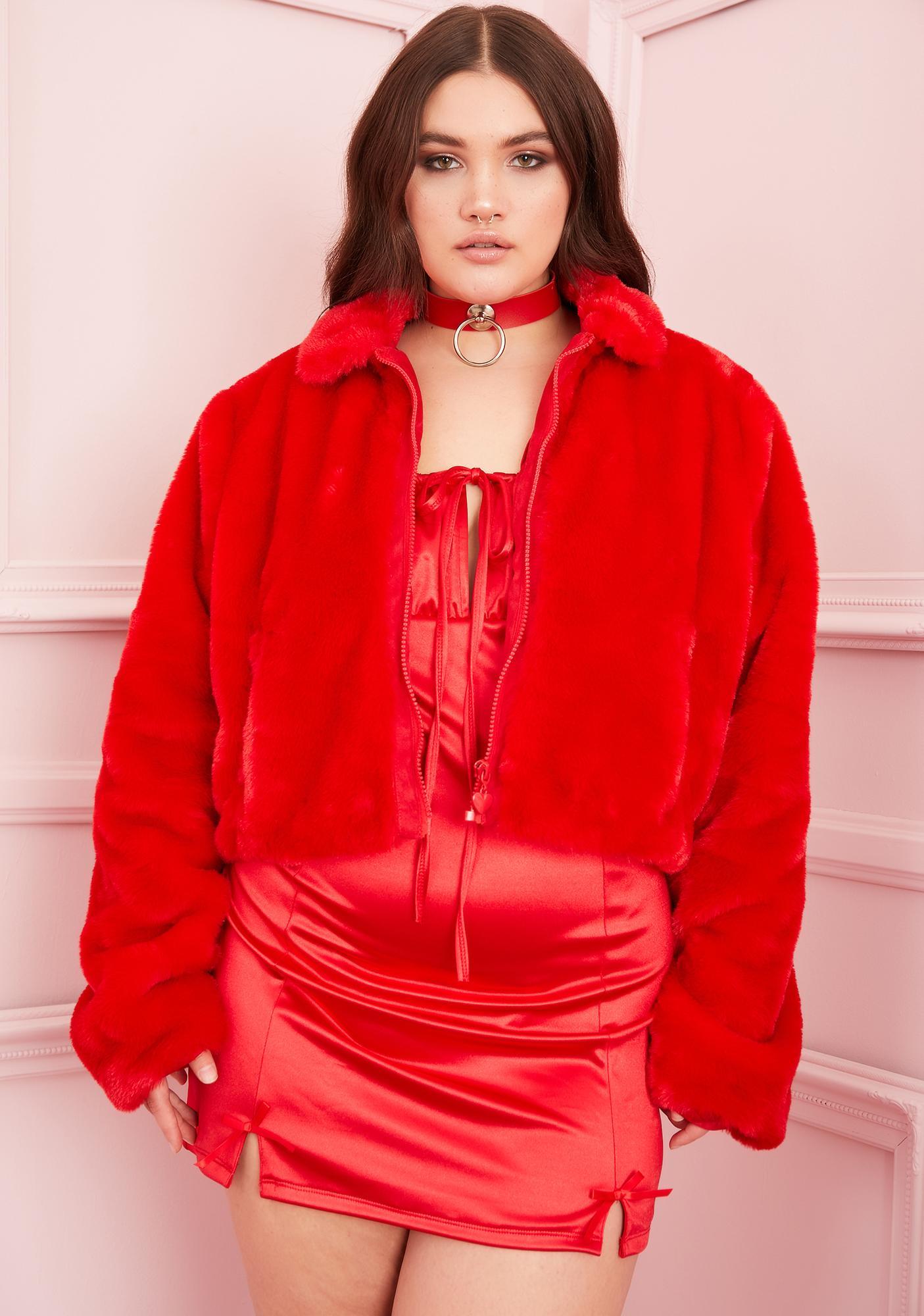 Sugar Thrillz Always Cupid's Fool Faux Fur Jacket