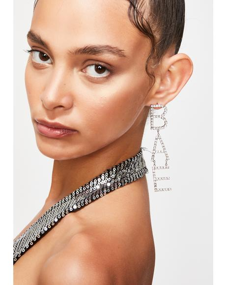 Call Me Bae Rhinestone Earrings