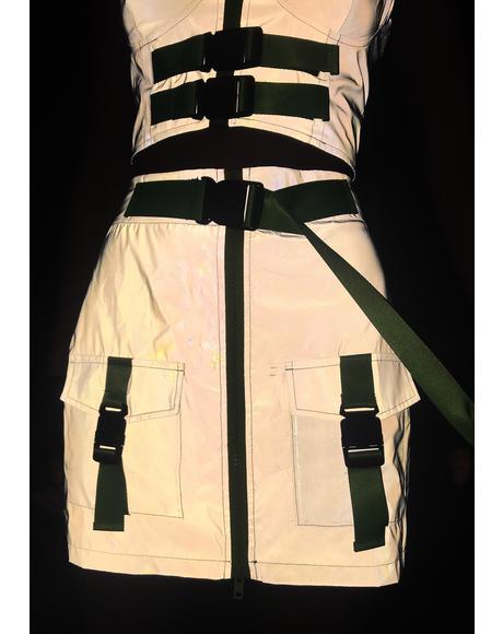 Blast Off Reflective Mini Skirt