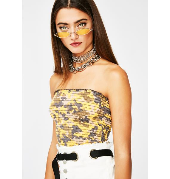 Stay Dangerous Camo Tube Top