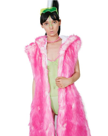 Pink Light-Up Hooded Faux Fur Duster