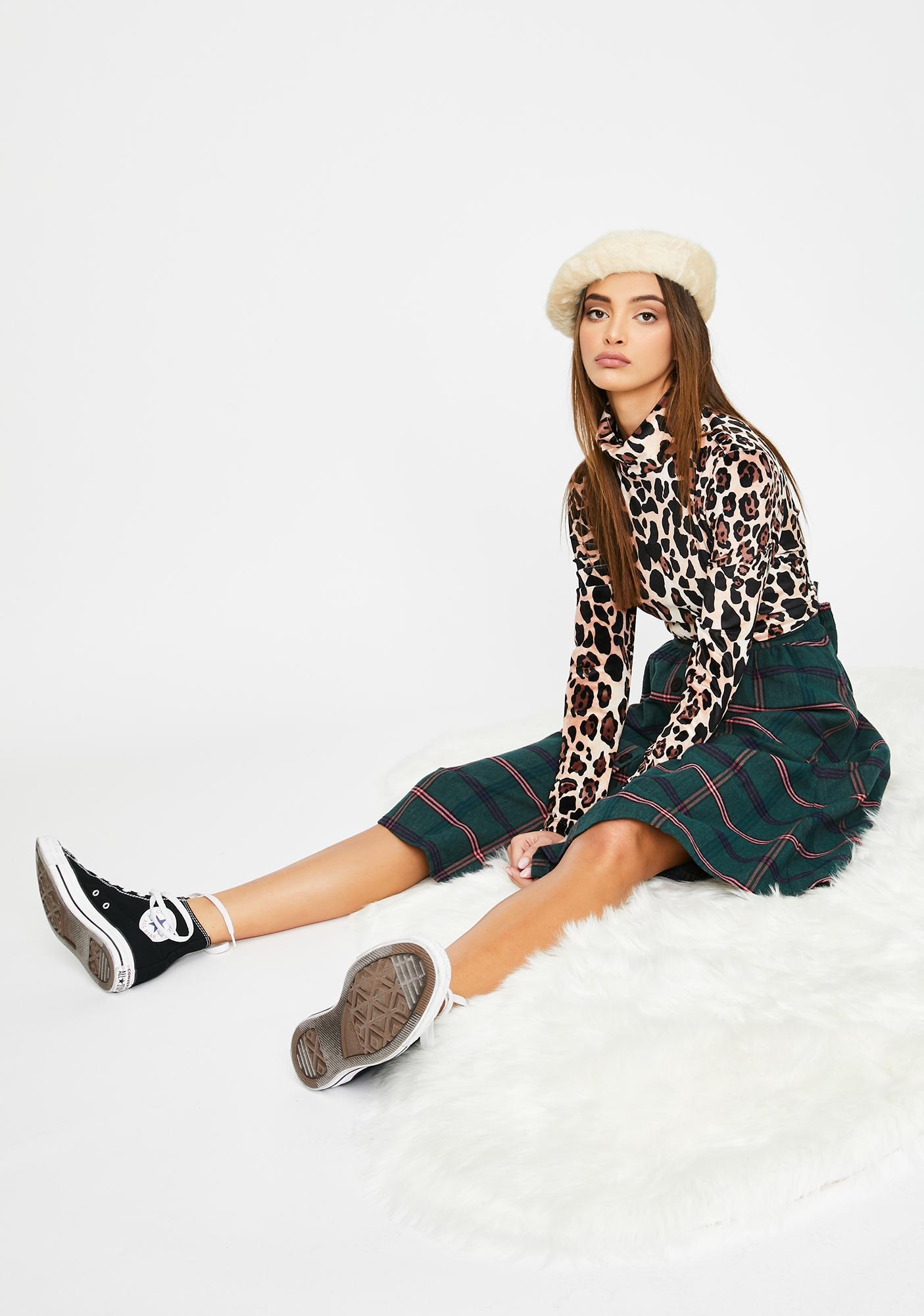 Lazy Oaf Leopard Velour Turtleneck
