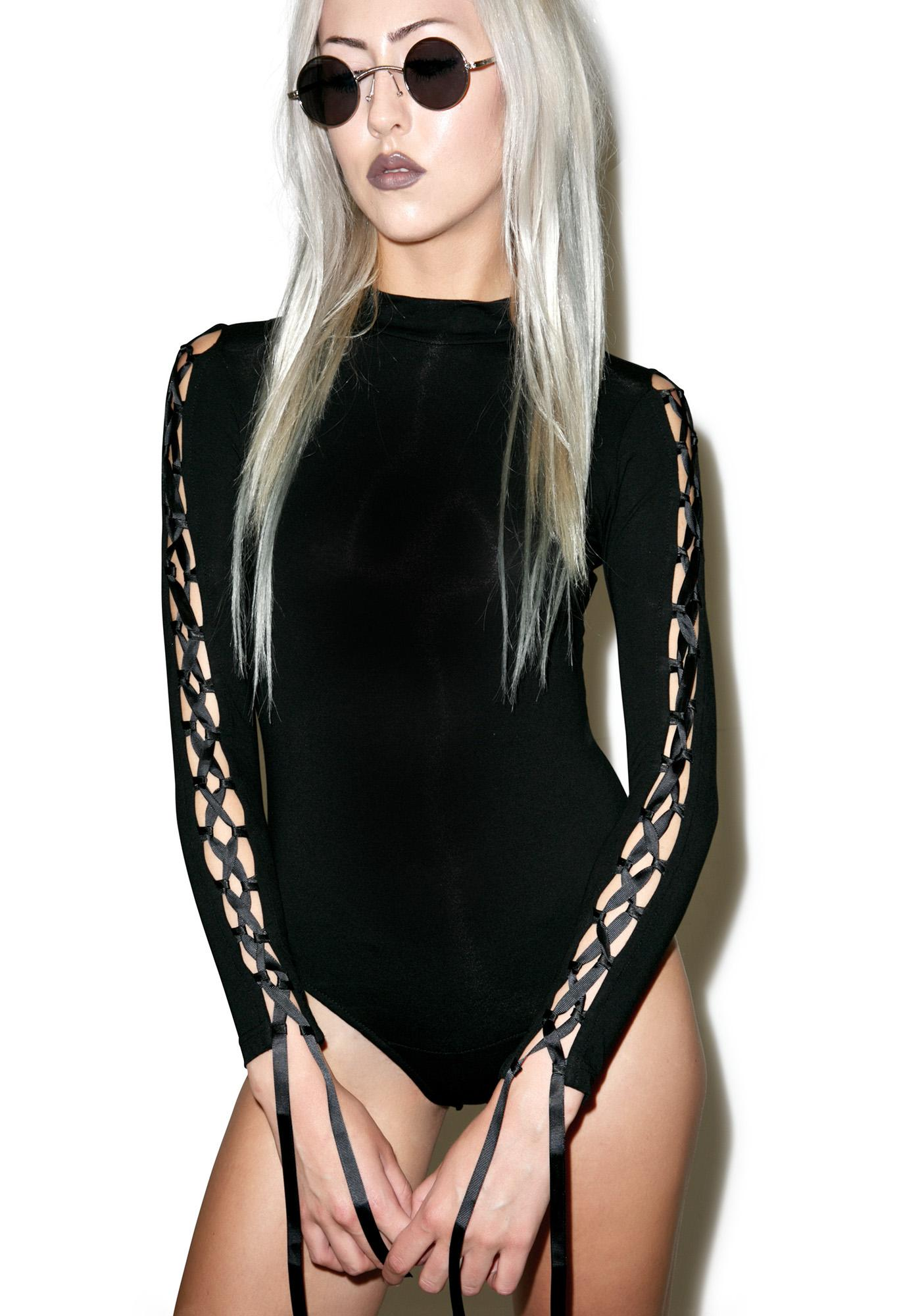 Sugarpills Black Lace Up Bodysuit