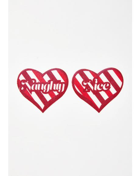 Candy Cane Naughty Or Nice Heart Pasties