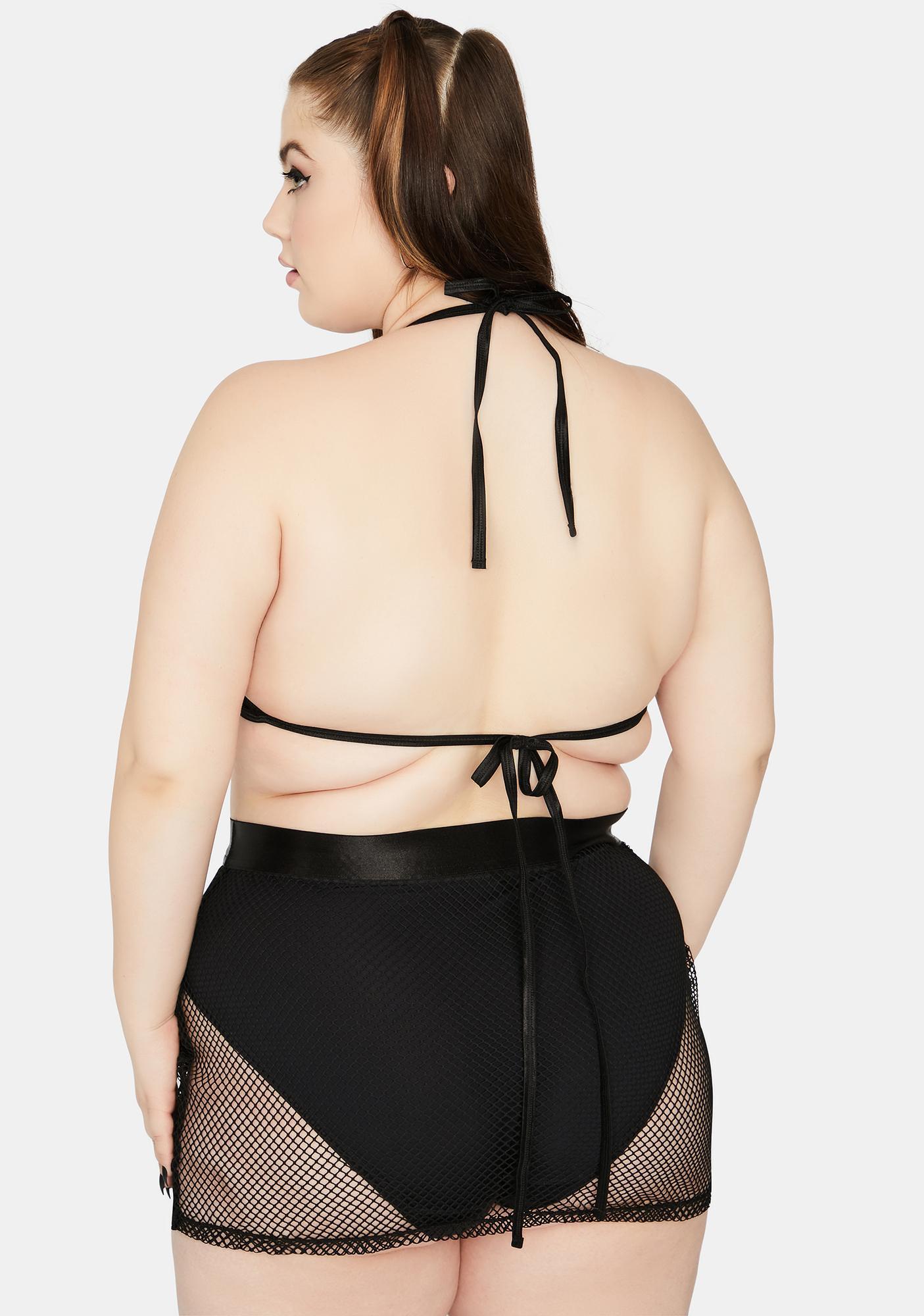 Club Exx She's Techno Sexual Fishnet Skirt Set
