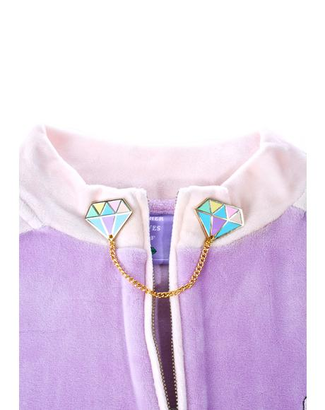 Rainbow Diamond Collar Pins