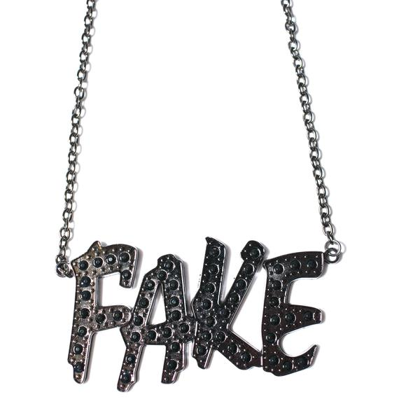 Fake Name Plate Necklace