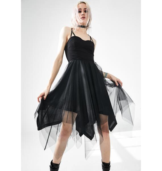 Punk Rave Dark Suspender Tulle Midi Dress
