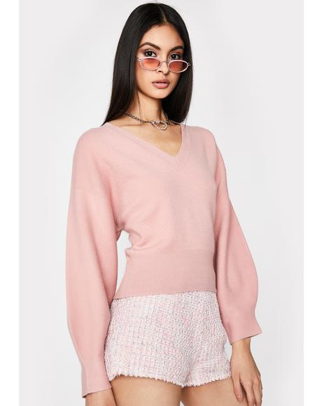 Blush Everyday Babe V Neck Sweater