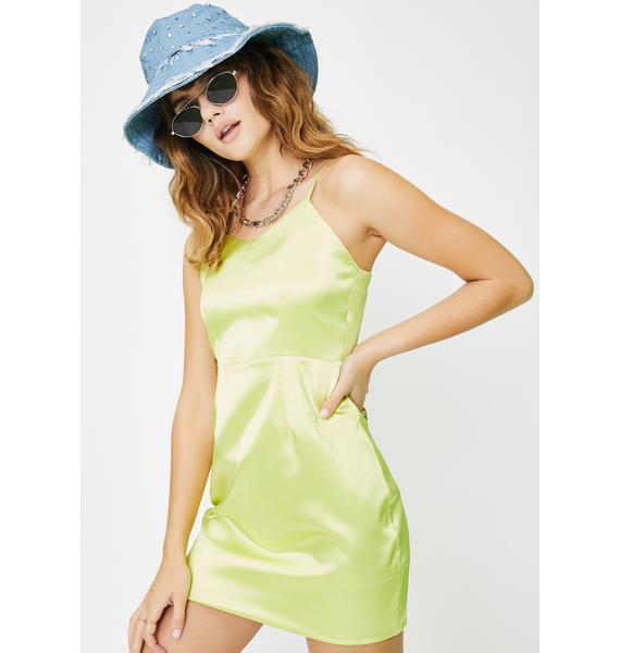 Daisy Street Yellow Satin Mini Dress
