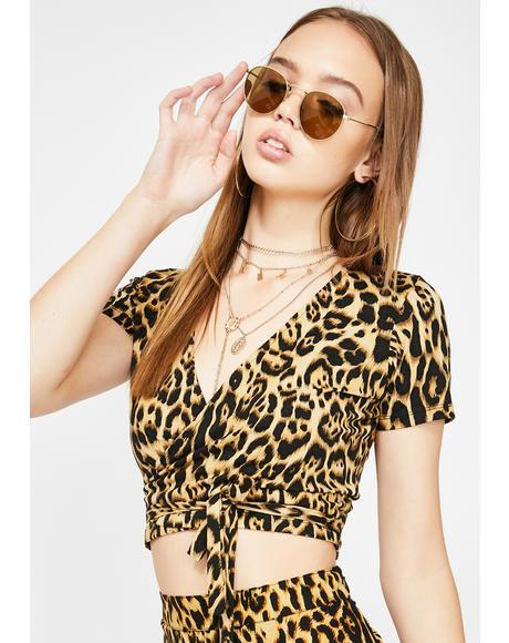 Bilen Leopard Wrap Top