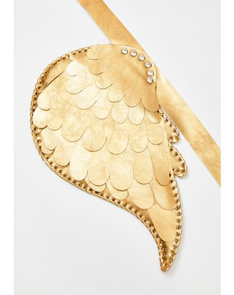 Gold Metallic Angel Wings Harness