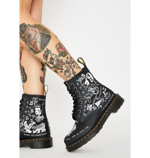 Dr. Martens 1460 Scribble Combat Boots
