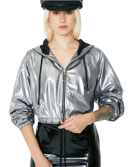 Silver In A Flash Cropped Windbreaker