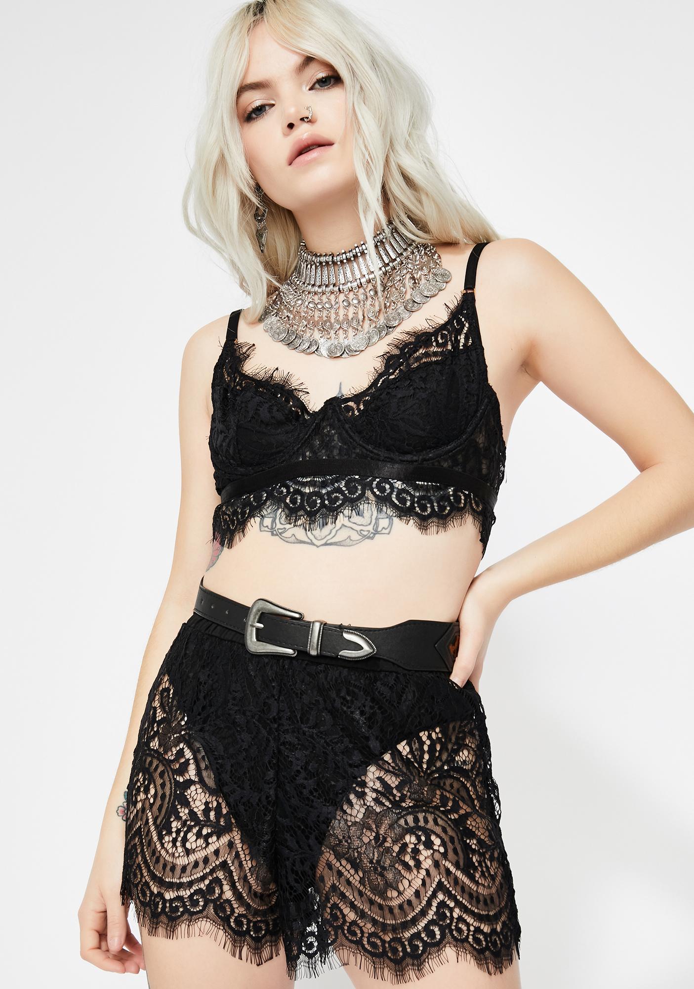 f79d892933 Black Eyelash Lace Bra Shorts Set