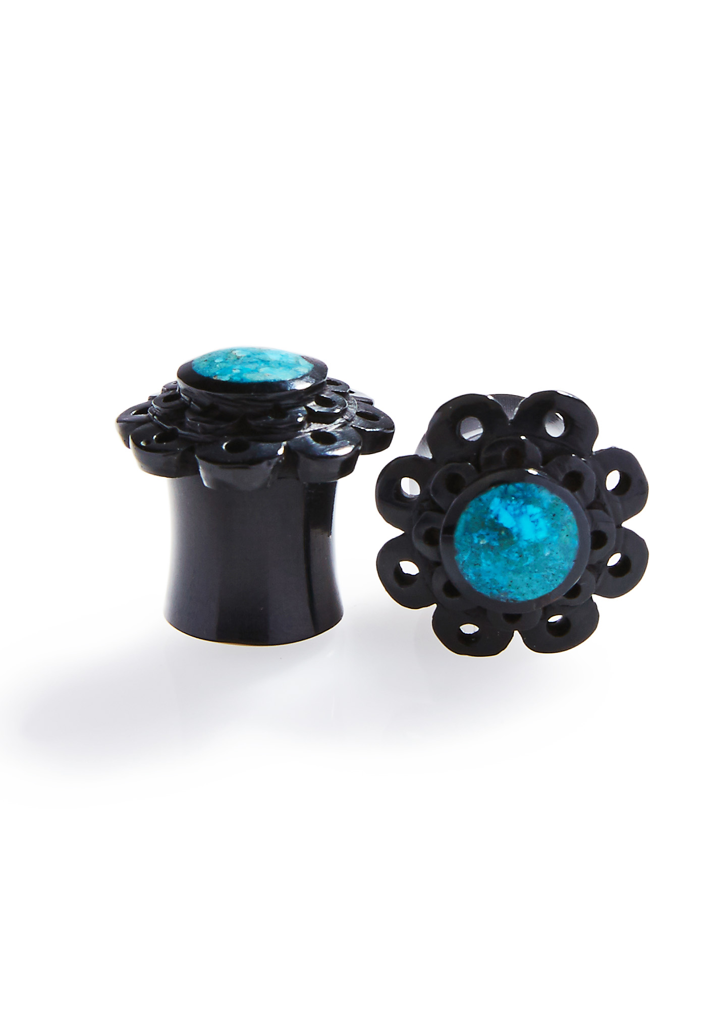 Black Flower Double Flare Plugs