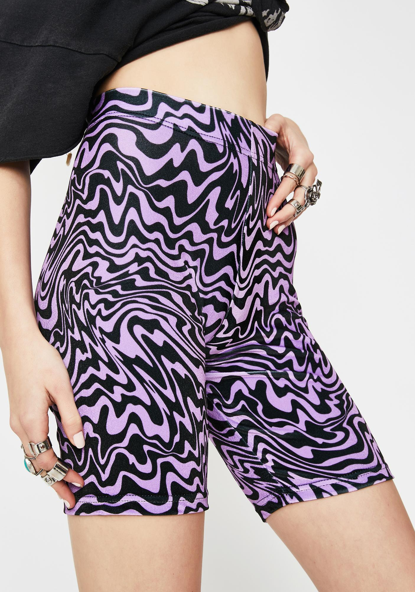 Tara Khorzad Trippy Purple Velvet Biker Shorts