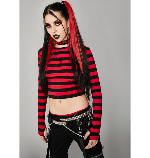 Widow World Of Misery Striped Top