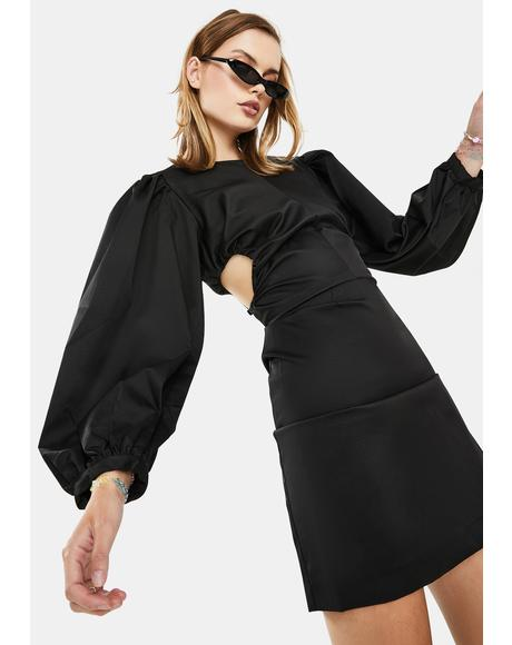 Black Balloon Sleeve Mini Dress