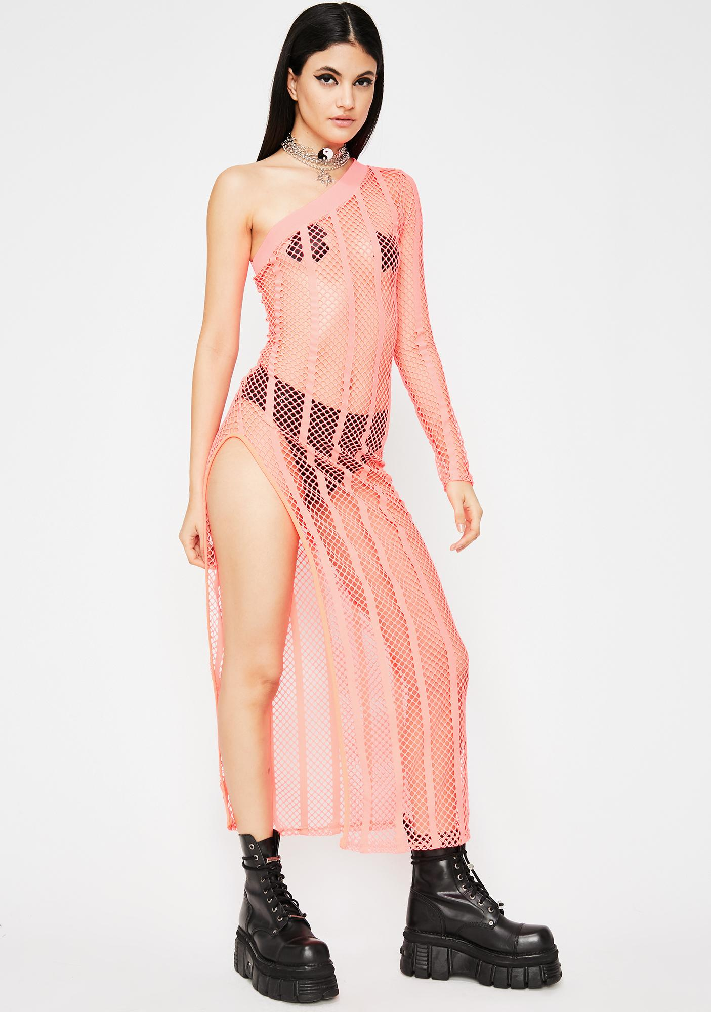 Acid Sunset Fishnet Dress