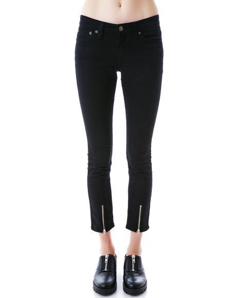 Zip Front Skinny Jeans