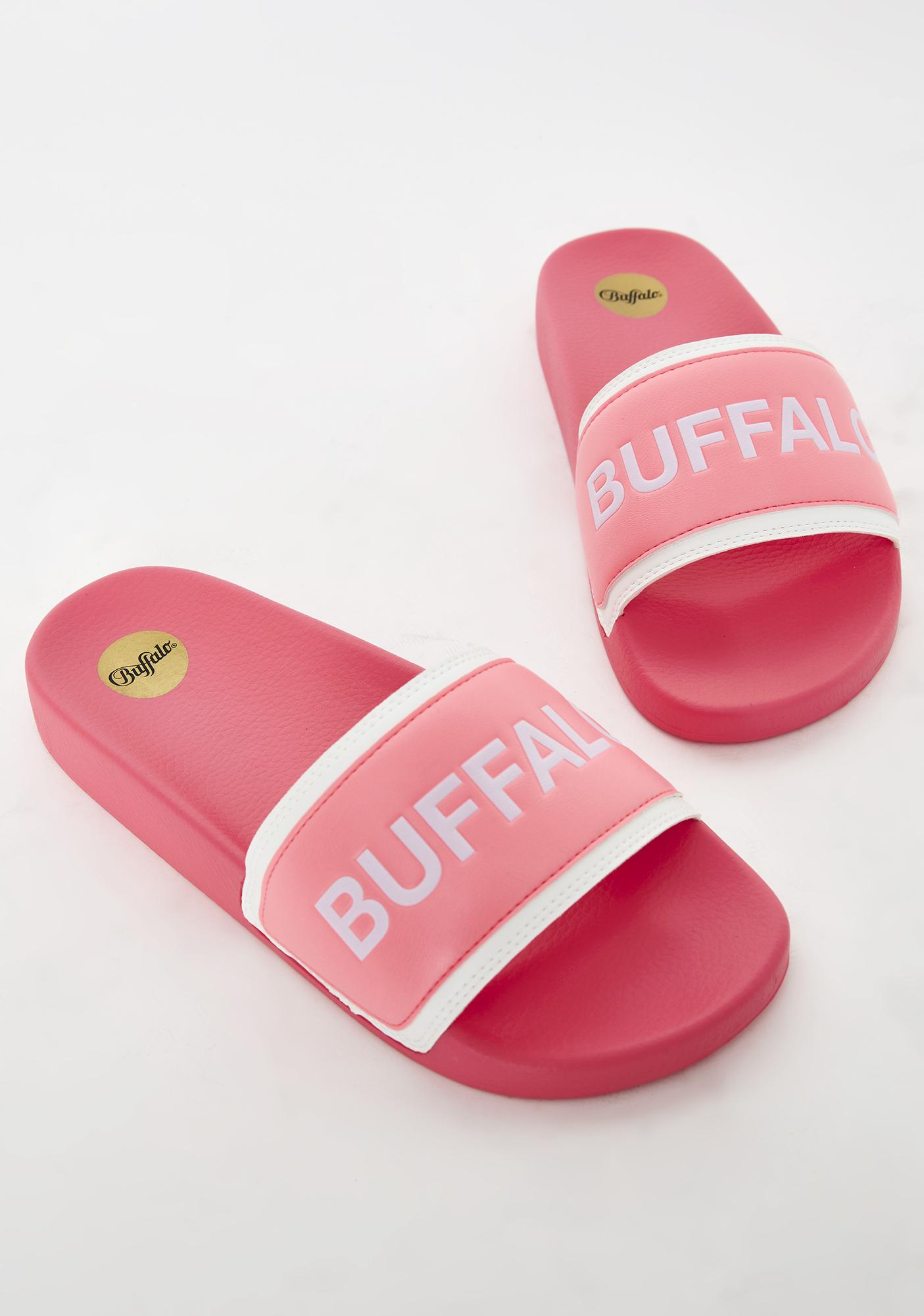Buffalo Neon Pink Jola Slides