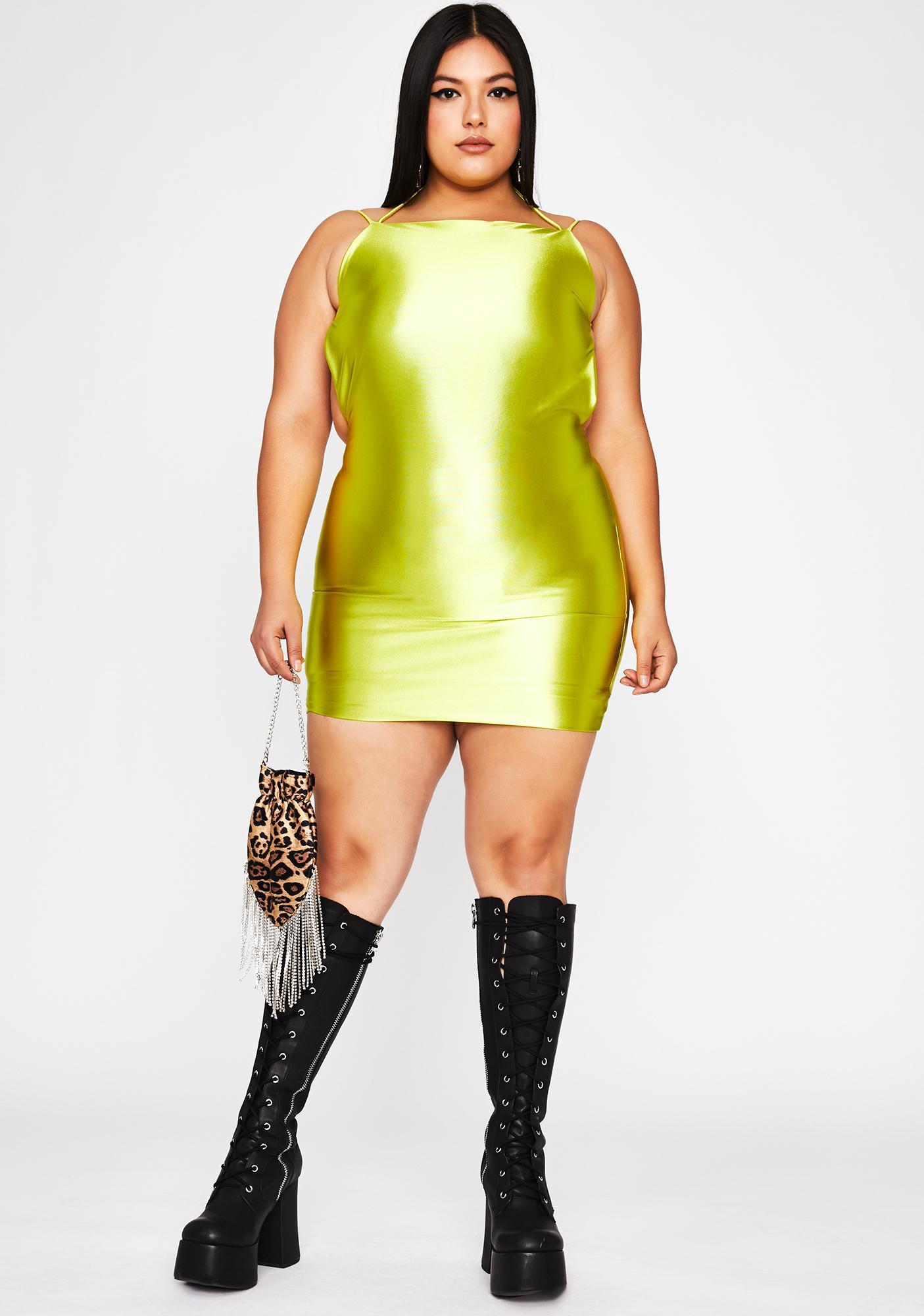 Chartreuse Viral Status Satin Dress