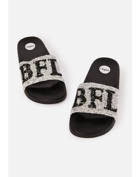 Silver Joelle Slide Sandals