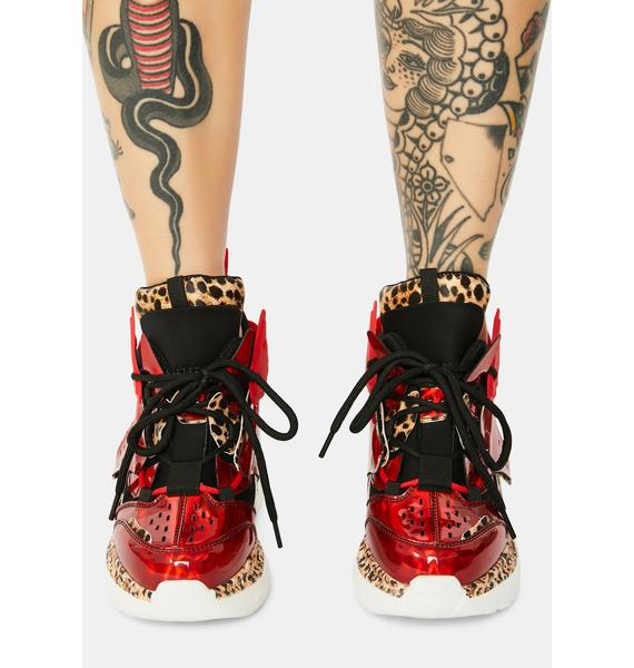 Anthony Wang Red Raisin 3 Chunky Wedge Sneakers