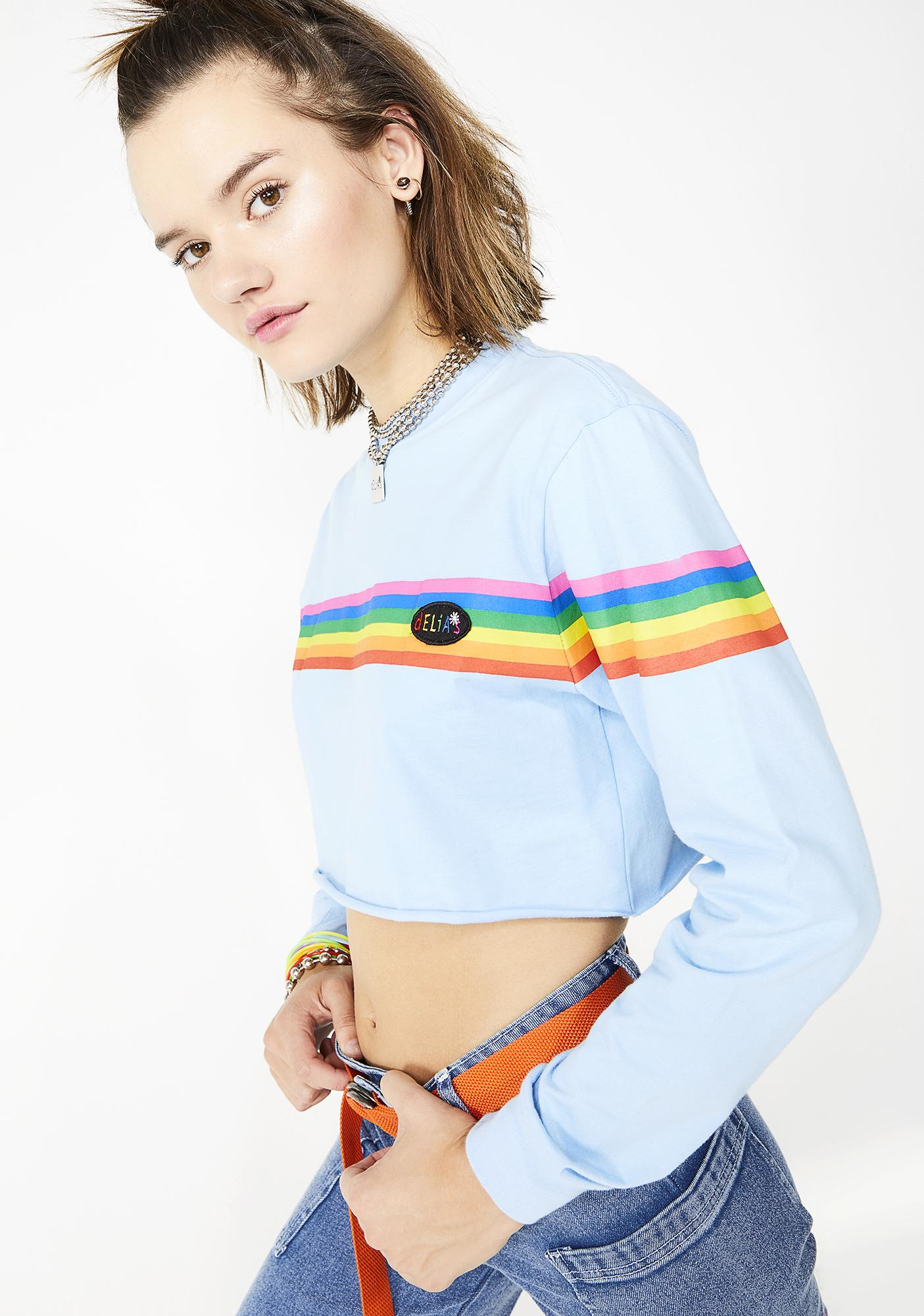 c504c35a5293 dELiA s by Dolls Kill Girl Meets Rainbow Cropped Tee
