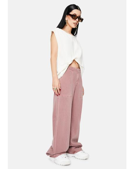 Hardwash Pink Tammy High Waisted Wide Leg Pants