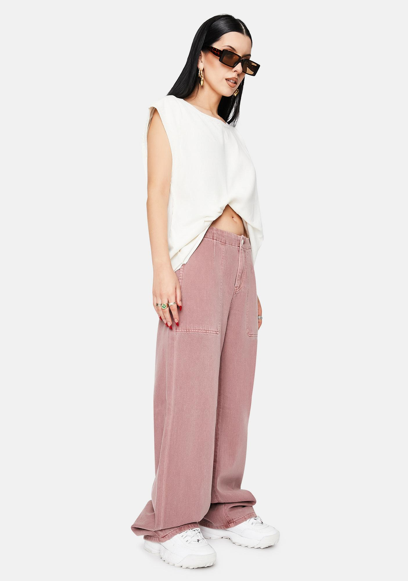 Articles of Society Hardwash Pink Tammy High Waisted Wide Leg Pants